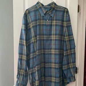Ralph Lauren Blue Plaid Button Front Shirt